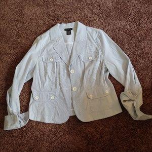 Rafaella Jackets & Coats - Rafaella baby blue and white striped blazer